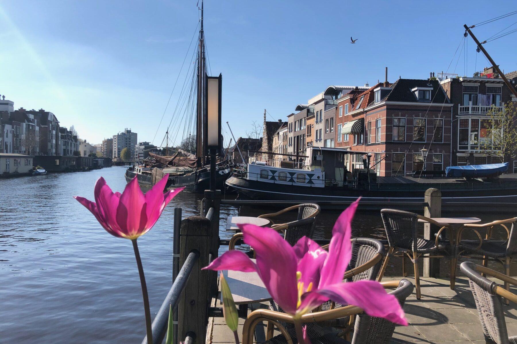 Uitzicht vanuit Vlot Grand Café op Galgewater Haven Leiden